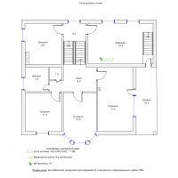 Схема монтажа системы видеонаблюдения коттеджа, 2-й этаж (эконом-вариант)