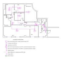 Схема монтажа СОУЭ офисного помещения (эконом-вариант)