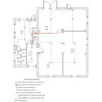 Схема монтажа пожарной сигнализации офисно-складского помещения (эконом-вариант)