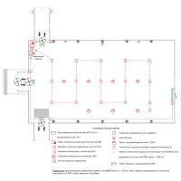 Схема монтажа пожарной сигнализации выставочного комплекса (эконом-вариант)