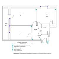 Схема монтажа охранной сигнализации и СКД двухкомнатной квартиры (эконом-вариант)